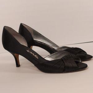 Nina Black Satin Peeptoe Kitten Heels Size 8.5